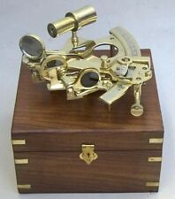 """NAUTICAL Marine Navigation 6"""" SOLID BRASS SEXTANT INSTRUMENT with WOOD BOX New"""