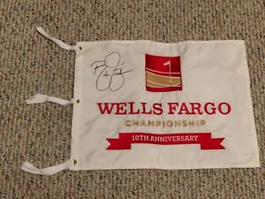 Wells Fargo Championship 10th Anniversary Golf Flag Signed by Rickie Fowler