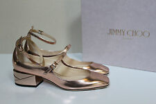 New sz 8 / 38 Jimmy Choo Wilbur Mirror Rose Gold Leather Low Heel Pump Shoes