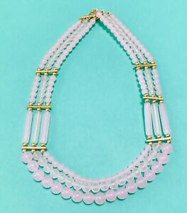 Vintage TRIFARI signed tiered 3 TRIPLE strand bold pink gold beaded necklace