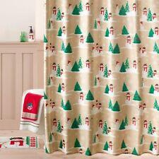 New St Nicholas Square Merry Mistletoe Snowman Toss Scenic Fabric Shower Curtain