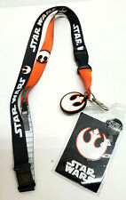Rebel Forces Orange Star Wars Deluxe Lanyard w Rubber Charm & ID Card- Licensed