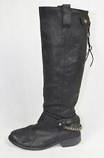 RIVER ISLAND Black leather distressed knee high biker boots UK 7