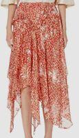 $2948 Preen Thornton Bregazzi Women Red Asymmetrical Pull-On A-Line Silk Skirt M