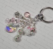 Heart Flower Crystal Beaded Handmade Keychain Split Key Ring White Pink