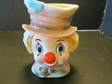 Vintage RELPO Young Clown Ceramic Head Vase # 6008 red blue ivory 6""
