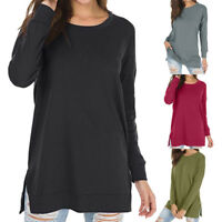 Women Long Sleeve Crew Neck Sweatshirt Casual Loose Pullover Tunic Tops Blouse