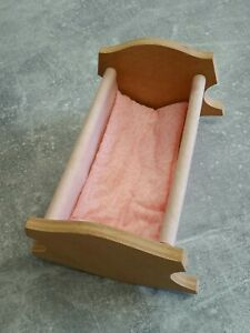 Vintage Amanda Jane Wooden Baby cot with onside and teddy (pls read)