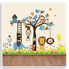 Animal Wall Stickers Monkey Owl Jungle Zoo Tree Nursery Baby Bedroom Decals Art
