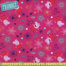 Springs Creative Fabric Peppa Pig Plays In Flowers Pink PER METRE Childrens Cart