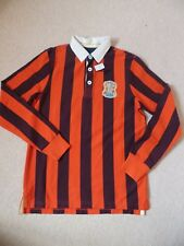 BNWT Boys Joules Cotton Maroon Orange Stripe College Rugby Shirt Top Age 11-12
