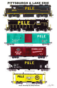 "Pittsburgh & Lake Erie Freight Train 11""x17"" Poster Andy Fletcher signed"