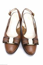 Authentic Ferragamo Varabow Slingbacks Leather Classic Womens Shoes 6 B Box