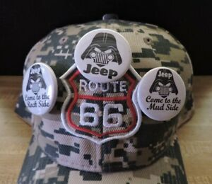 """BASEBALL HAT..JEEP, ROCK SIDE, MUD SIDE..ROUTE 66...ADJUSTABLE..1.5"""".MADE IN USA"""