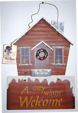A COZY WINTER WELCOME 2 pc Wood Country Cabin 3D Winter Hanging Wall Sign Plaque