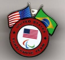 RIO 2016. PARALYMPIC GAMES. NOC PIN. USA. USA AND BRAZIL FLAGS