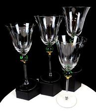 """CRATE & BARREL #CTB15 FLARED RIM GREEN BALL STEM GOLD 9 1/8"""" 4 PC WATER GOBLETS"""