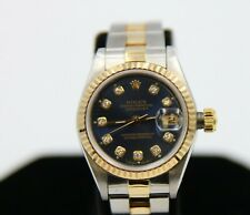 Rolex Oyster Perpetual Day Just Two-Tone 18K Ladies Watch Blue Dial