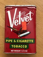 Vintage Collectible Velvet Pipe and Cigarette Tobacco Tin Can (EMPTY)