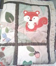 Carter's Woodland Friends Quilt Blanket Baby Crib Tree Squirrel Plaid