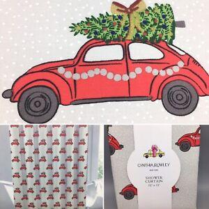Cynthia Rowley Red Car Christmas Tree Home Shower Curtain Jingle All The Way