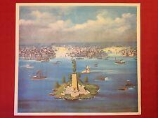 VEDUTA di NEW YORK STAMPA A COLORI - RIPRODUZIONE di GOUACHE della FINE del 1800