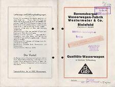 BIELEFELD, Prospekt 1934, Ravensberger Wasserwagen-Fabrik Westermeier & Co.