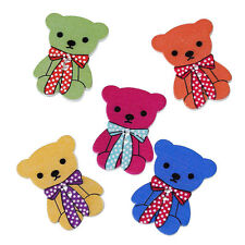 20 Wooden Colourful Teddy Bear Buttons 32 X 24mm Ideal for Sewing Crafts