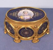 French Antique Gilt Bronze Jewelry Casket with Hand Painted Sevres Porcelain