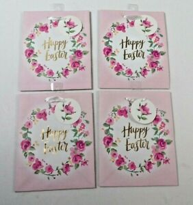 Easter Holiday Gift Bags Happy Easter Lot of 4 Floral Pink 7 x 8 3/4 x 4 Ribbon