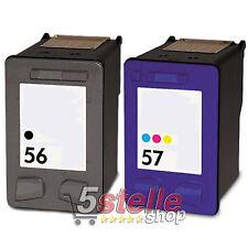 BIPACK CARTUCCE 1 NERO + 1 COLORE HP 56 57 PER 1350V 1350XI 1355 2000 2105 REMAN
