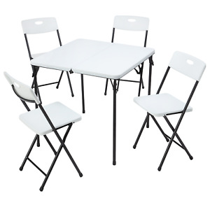 Outdoor 5-Piece Resin Plastic Card Table, Four Chairs Set Garden Patio Furniture