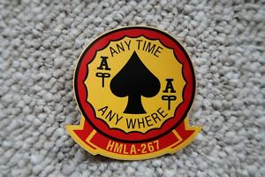 "HMLA-267 ANY TIME ANY WHERE 2ea USMC DECALS 4""X3.5"" MYLAR"