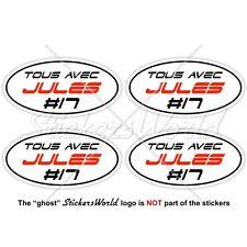 "JULES BIANCHI #17 TOUS AVEC Formel 1 F1 50mm (2"") Vinyl Sticker, Aufkleber x4"