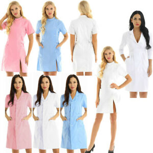 Women Adult Hospital Medical Doctor Nurse Uniform Scrub Tops Lab Coat Long Dress