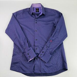 ABSOLUTE REBELLION Slim Fit Men's Medium Geometric Royal Purple L/S Button Down