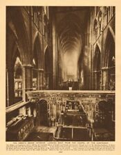 Westminster Abbey interior. west from the Confessor's chapel 1926 old print