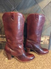 "Vintage Womens DINGO Sz 5.5 M Brown Leather Boots 3"" Wood Stacked Heels"