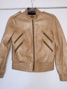 Alice + Olivia Womens bomber moto Jacket Camel silk zip up Leather sz XS $850 C1