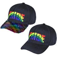 PRIDE HAT BASEBALL CAP GAY PRIDE RAINBOW SEQUIN LOVE LGBT HATS