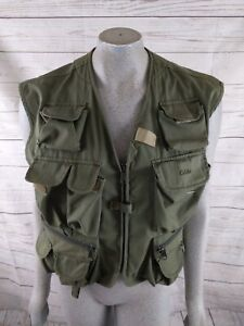 Cabela's Army Green Front Zip Camping Hiking Fishing Guide Vest Size Large