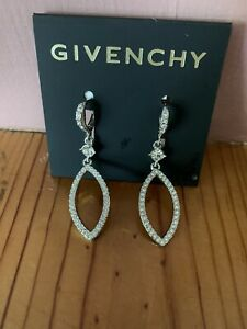 Givenchy Silver-Tone Crystal Pave Drop Earrings Msrp $45.