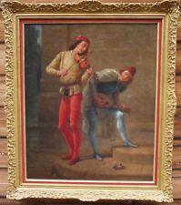 Ancien Tableau Huile Sur Toile Portrait Troubadour 1903 Cadre Montparnasse