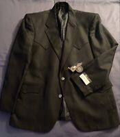NWT Circle S Western Blazer Jacket Sport Coat 46R Navy -Two Button -Cowboy Rodeo