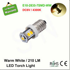 1X E10 SCREW 1447 Style 6V LED LAMP BICYCLE TORCH Warm White 4300k Light Bulb