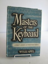 1952 Masters of the Keyboard by Willi Apel Survey of Piano Music HB DJ Harvard