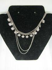 Dainty Statement Choker Multi Strand Chains Bib Necklace Silver Tone Rhinestones