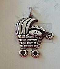 Sterling Silver 21x19mm Whimsical Baby in Carriage Pram Charm