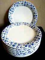 "Waechtersbach Blue  and White flowers Dinner Plates Germany set 8 10"""