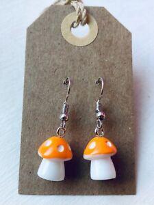 FUNKY ORANGE MUSHROOM Earrings Retro Cute Polkadot Size 1.2 x 1 cms